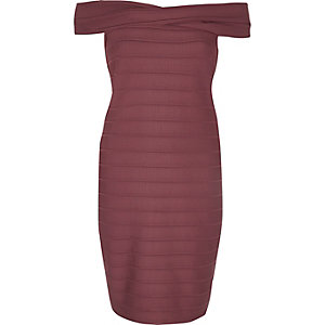 Red D-ring bardot bodycon dress