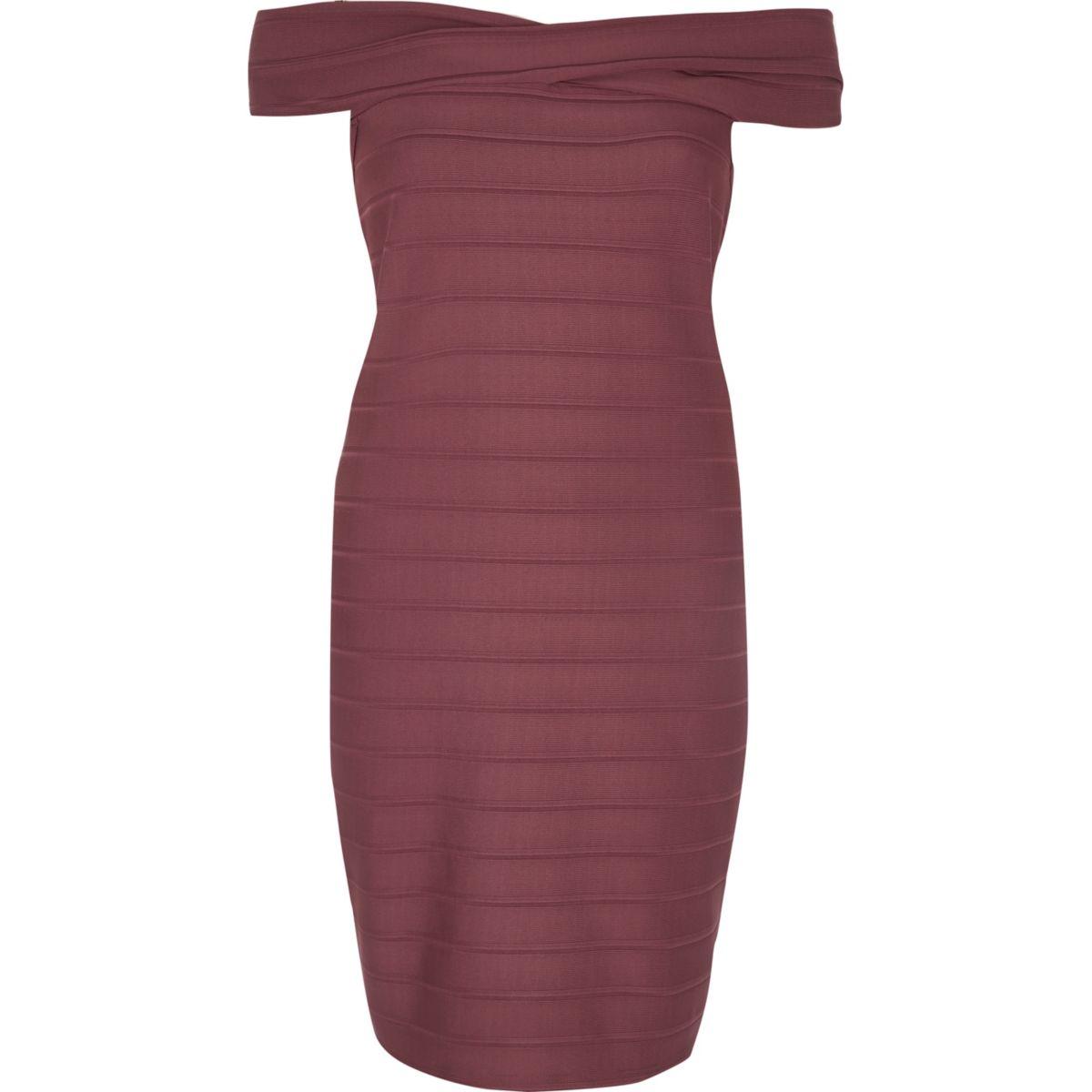 Red D-ring bardot bodycon dress