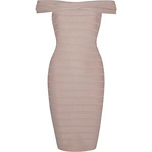 Grey D-ring bardot bodycon dress