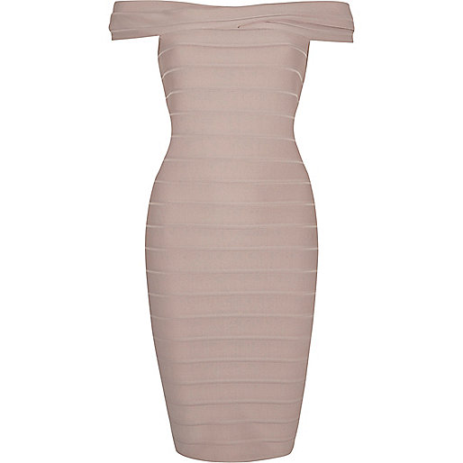Grey D-ring bardot bodycon dress