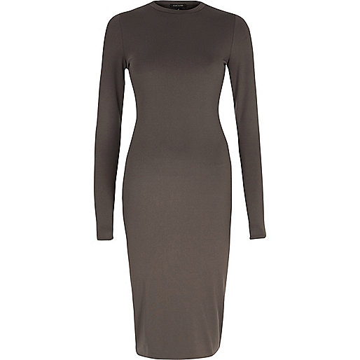 Grey long sleeve bodycon midi dress