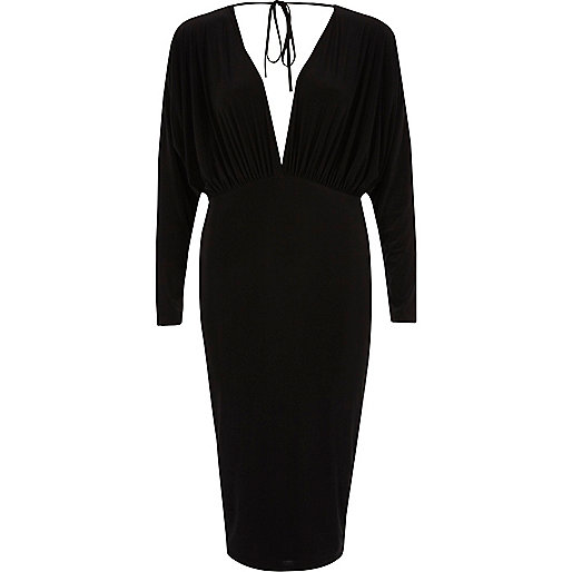Black batwing plunge bodycon midi dress