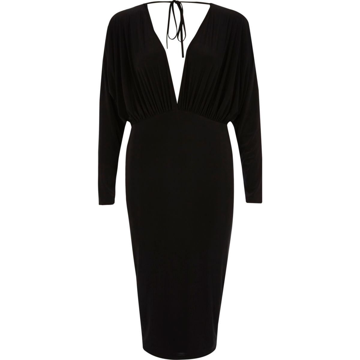 Black batwing plunge bodycon midi dress
