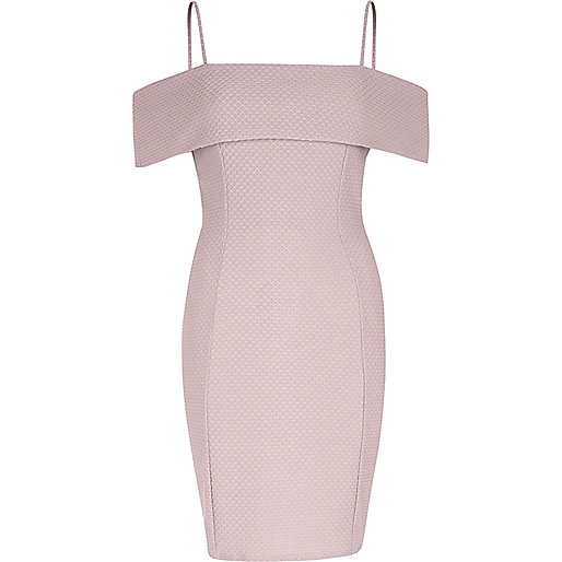 Pink textured frill bardot bodycon midi dress