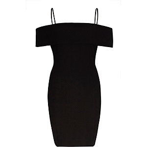 Black textured bardot bodycon midi dress