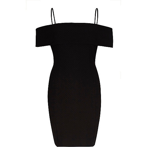 Black textured bardot bodycon midi dress