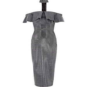 Silver choker bardot bodycon midi dress