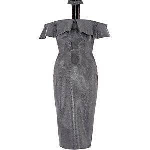 Robe mi-longue bandeau argentée style Bardot à tour de cou