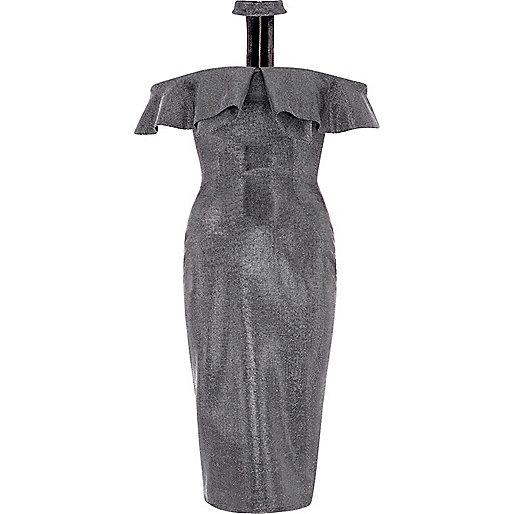 Silver choker bardot bodycon midi dress