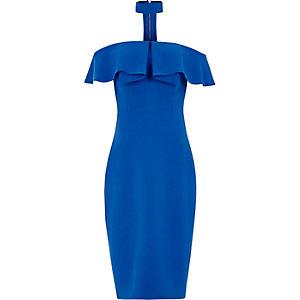 Robe mi-longue Bardot bleue moulante avec tour de cou