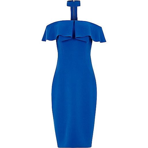 Blue choker bardot bodycon midi dress