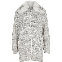 Grey faux fur collar jersey swing coat