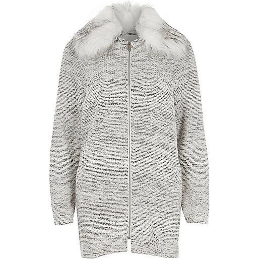 Grey fur collar jersey swing coat