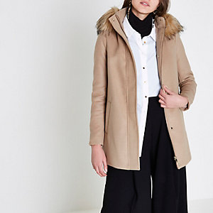 Camel faux fur hooded swing coat
