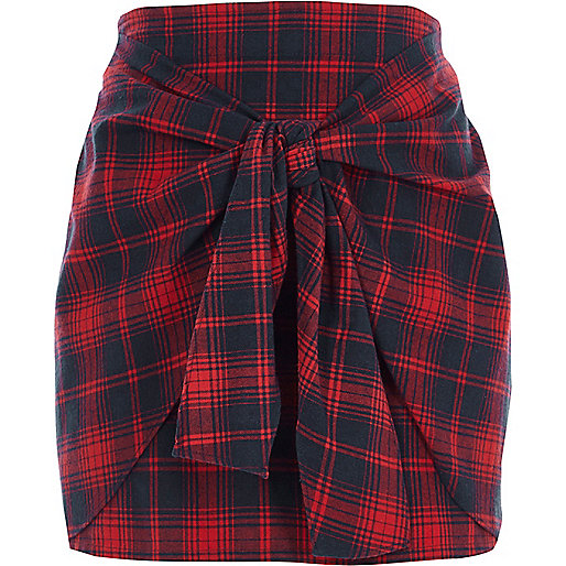 Red check tie front mini skirt