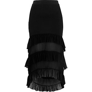 Black tiered high-low pleated maxi skirt