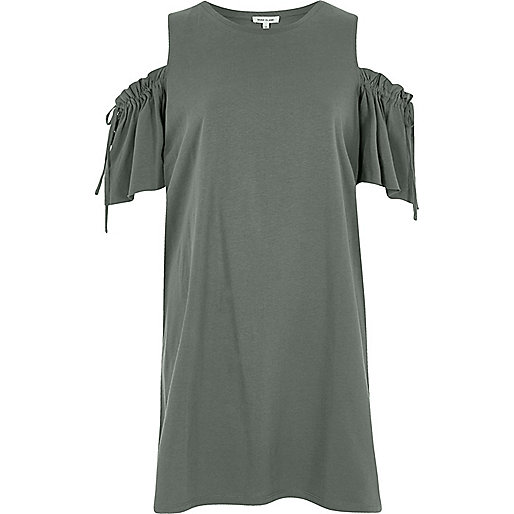 Green cold shoulder drawstring T-shirt