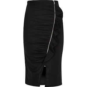 Black ruched ruffle zip side pencil skirt