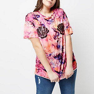 Plus pink tie dye sequin shell T-shirt