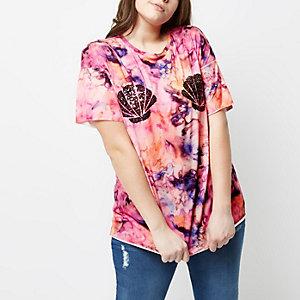 Plus pink tie dye sequin shell T-shirt