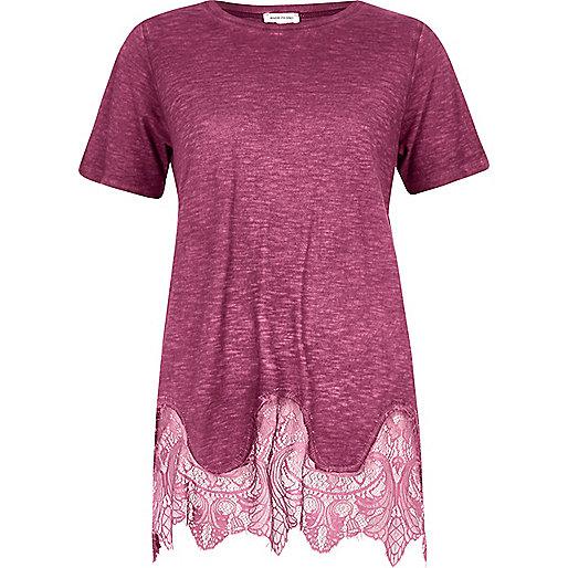 Dark red lace hem T-shirt