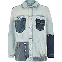Middenblauw bewerkt oversized denim jack