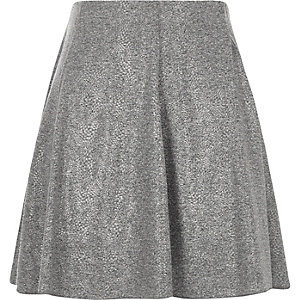 Grey melange flippy mini skirt