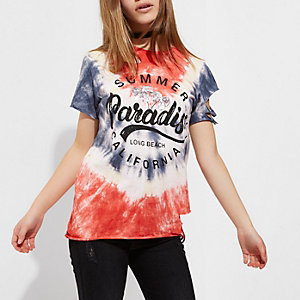 Petite red tie dye 'summer paradise' T-shirt