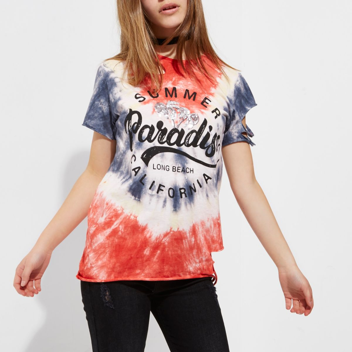 Petite red tie dye 'summer paradise' T-shirt