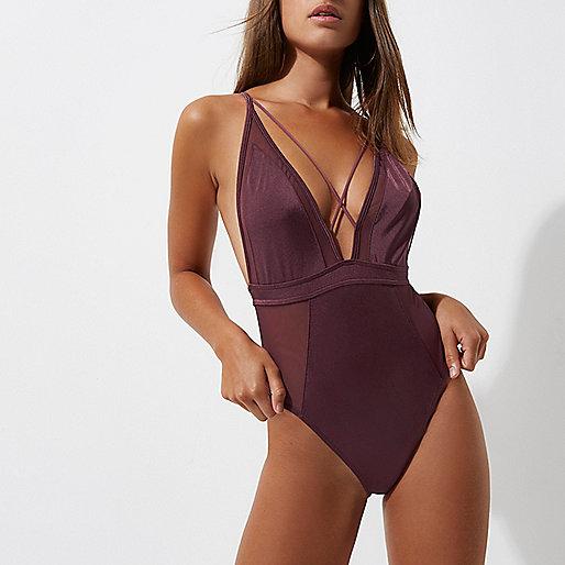 Dark purple mesh insert strappy swimsuit