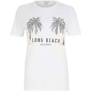 White 'long beach' palm tree print T-shirt
