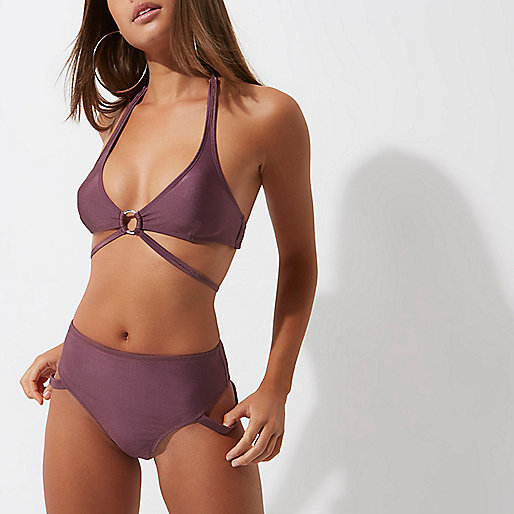Purple high waisted strappy bikini bottoms
