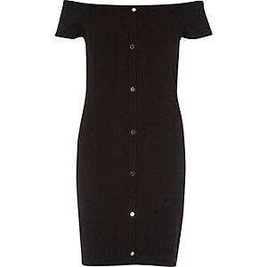 Black bardot popper front dress