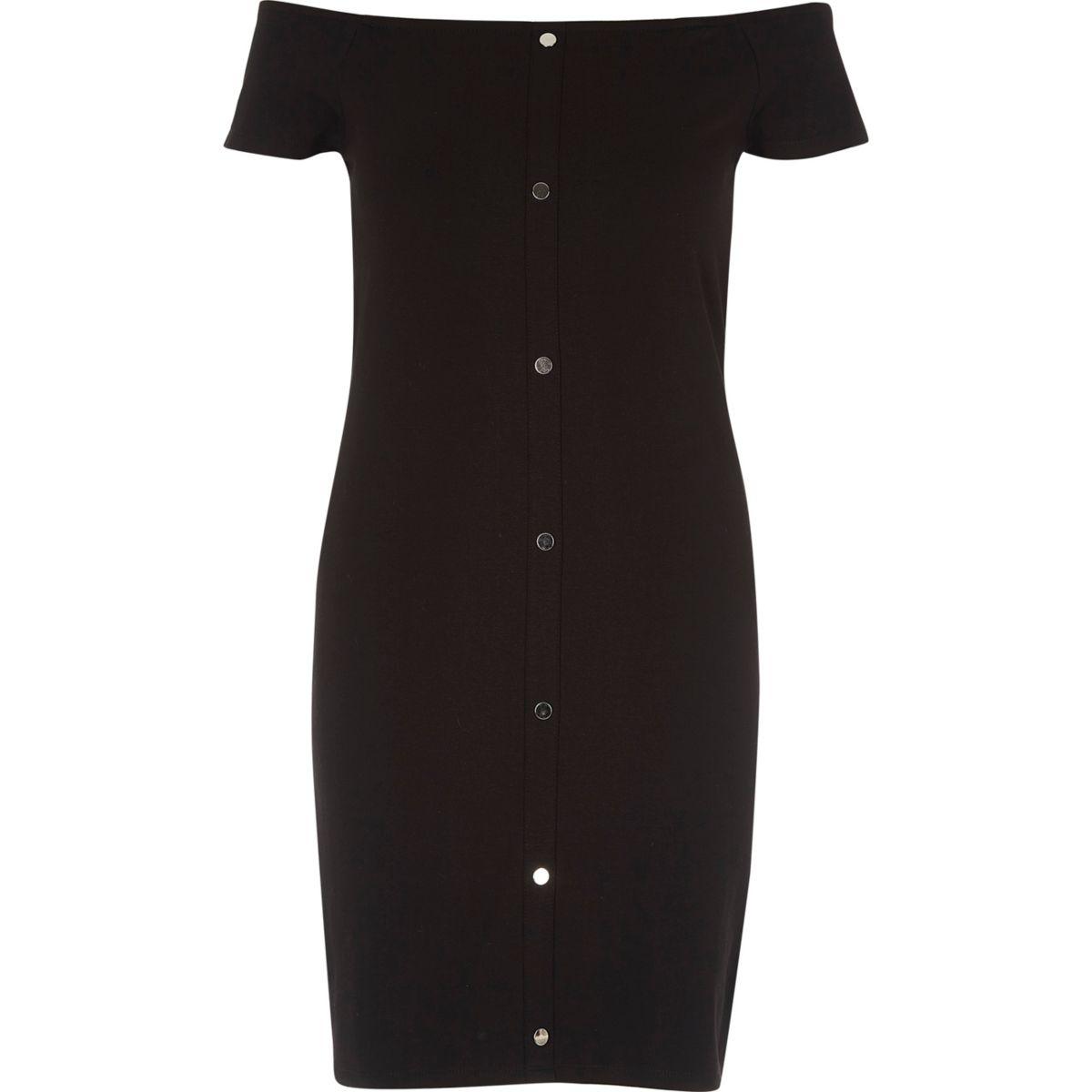 Bardot-Kleid mit Druckknöpfen