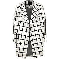 Cream check print fallaway jacket