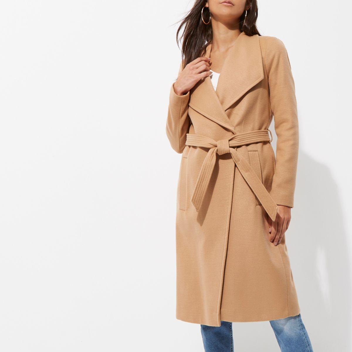 Camel belted robe coat
