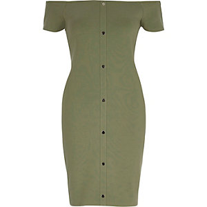 Light green bardot bodycon dress