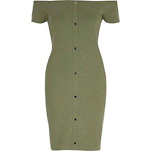 Robe moulante Bardot vert clair
