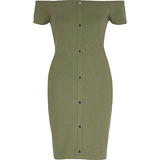 Light green bardot bodycon dress