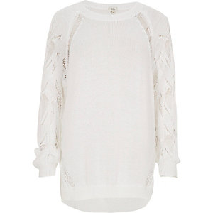 White knit ladder sleeve sweater