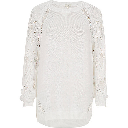 White knit ladder sleeve jumper