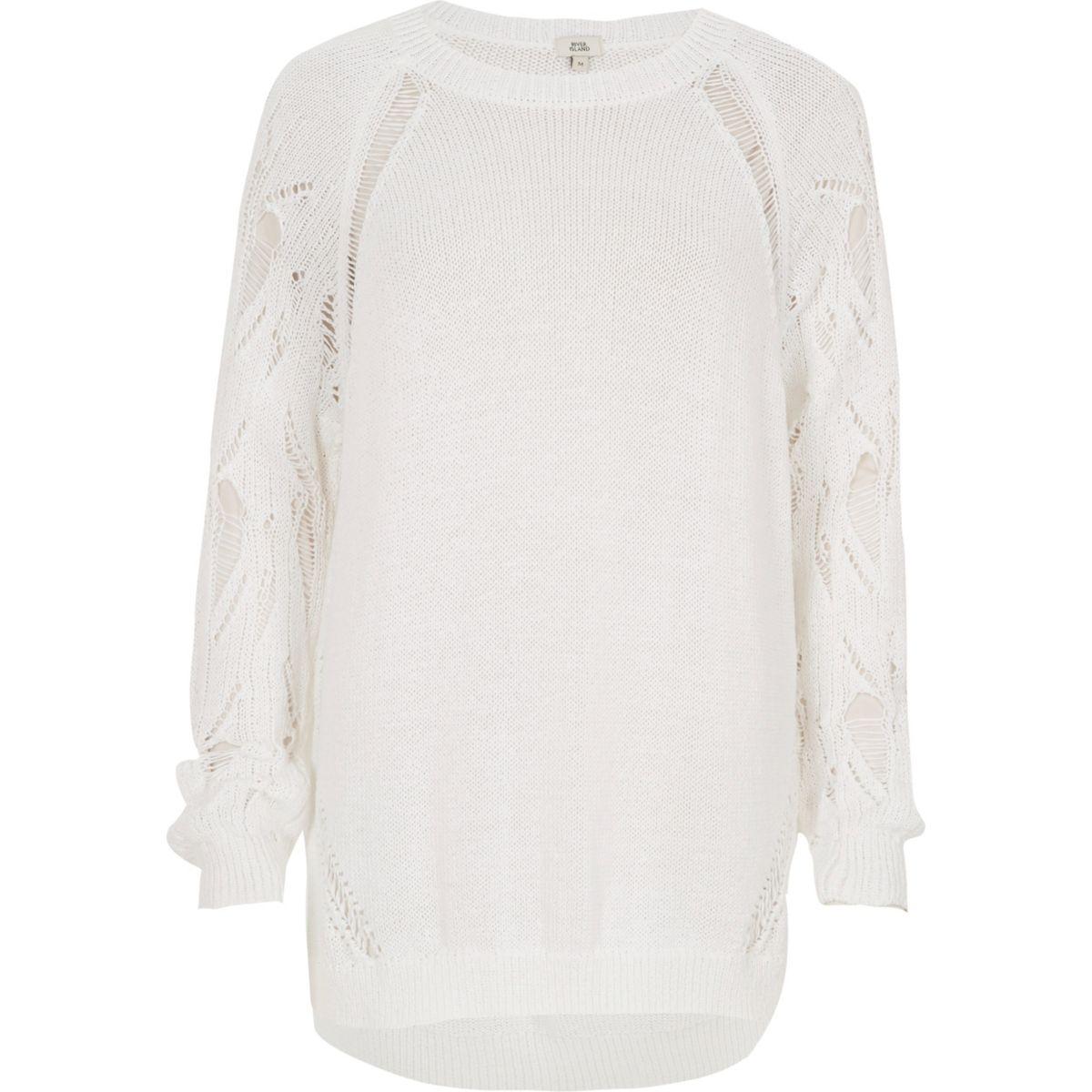 White knit ladder sleeve jumper