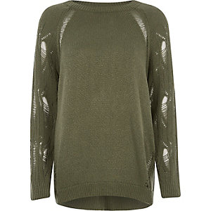 Dark green ladder knit raglan sleeve sweater