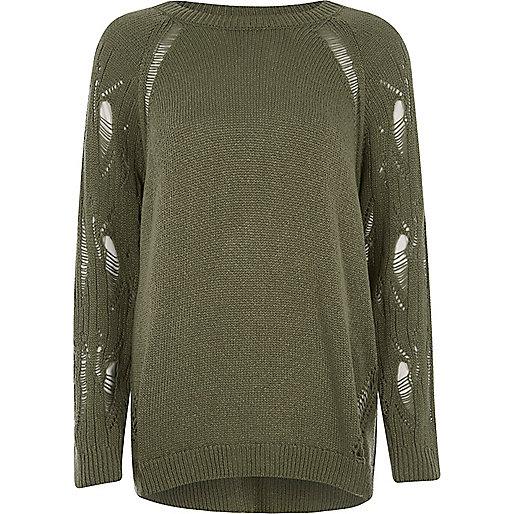 Dark green ladder knit raglan sleeve jumper