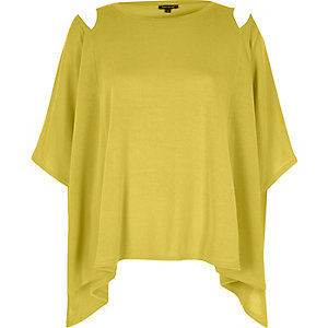 Yellow cut out shoulder cape top