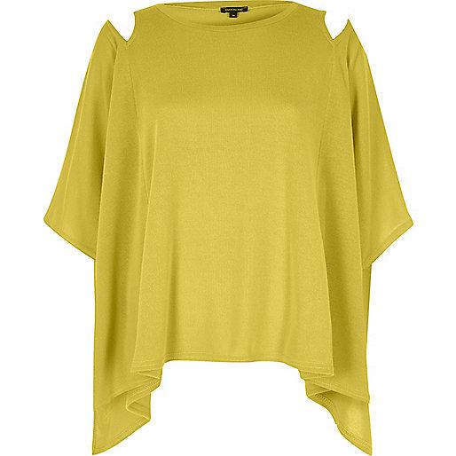 Yellow cut out shoulder cape top