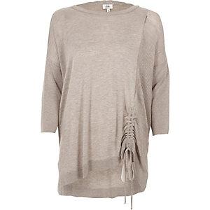Light brown knit ruched side jumper