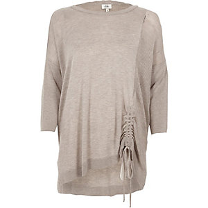 Light brown knit ruched side sweater