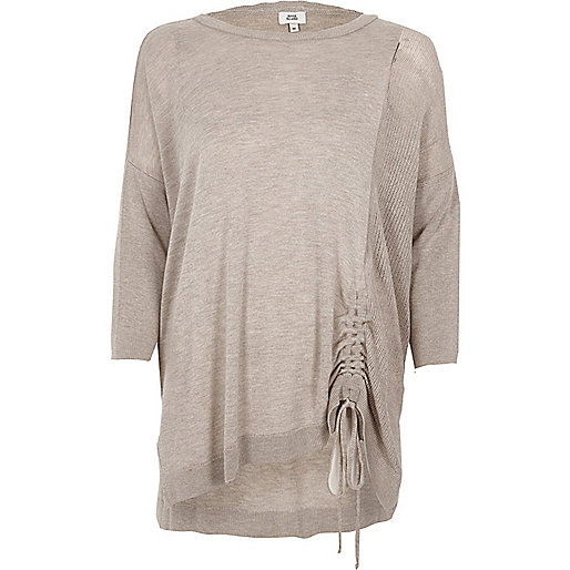 Light brown knit ruched side jumper