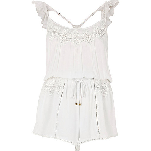 White lace insert frill shoulder romper